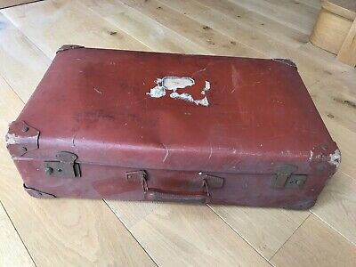 Vintage Antique French Suitcase Luggage Travel Case 1920's Checked Inside.