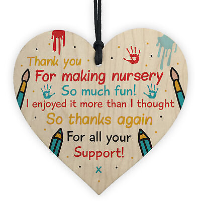 Nursery Teacher Teaching Assistant Thank You Gifts Wooden Heart Leaving Present