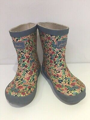 Girls Boys Baby Kids Joules  Boots Floral Blue Wellies Uk 6,Us 7, 23 Eu N42