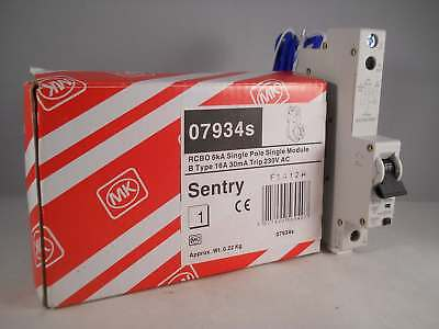 MK RCBO 16 Amp 30mA Type B 16A Sentry B16 07934S 7934S NEW