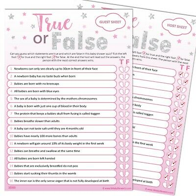 Baby Shower Game 20 Player - TRUE OR FALSE - Pink Silver Stars, Girl,Party Games