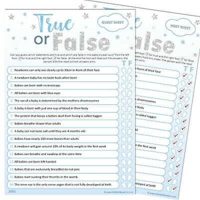 Baby Shower Game 20 Player - TRUE OR FALSE - Blue Silver Stars, Boy, Party Games
