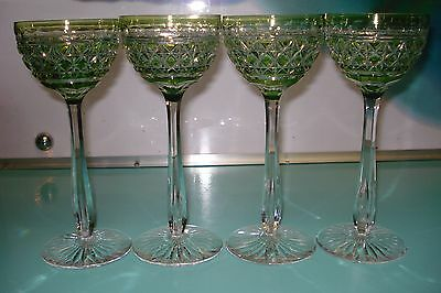 4pc Crystal Waterford ? Chartreuse lime green hock drinking wine / water glass