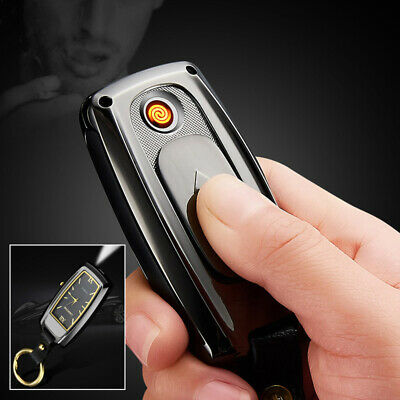 Electric Electronic Lighter Usb Rechargeable With Clock Light Torch Keychain