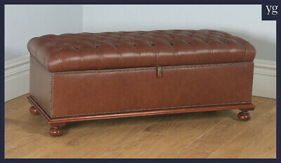 Antique English Victorian Mahogany Upholstered Brown Tan Leather Ottoman / Stool