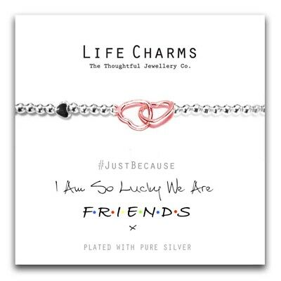 Lucky We are Friends Bracelet – Life Charm Silver Plated Jewellery Gift For Her