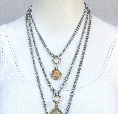 "5pc LOT vtg chain Necklace 18"" 38"" silver Stainless Steel curb charm holder bulk"