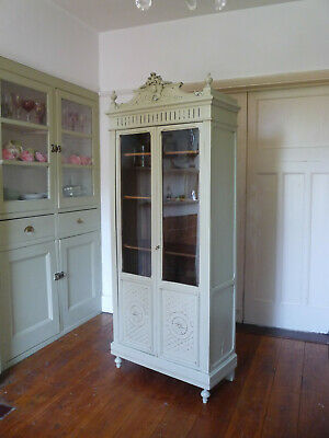 Antique Painted French Armoire Vitrine Linen Cupboard