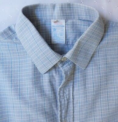 """Blue check flannel shirt Collar size 17.5"""" British made vintage 1970s 1980s"""