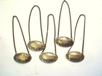 Set of 5 Vtg GUMPS Sterling Silver Liquor Label Tags - Gin Bourbon Scotch Vodka