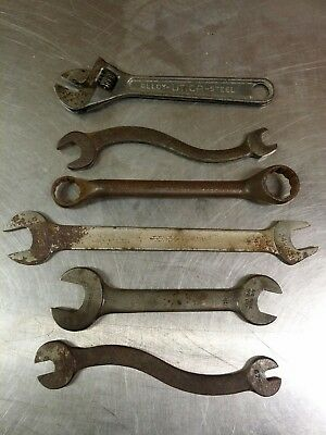 Lot of 6 Antique Wrenches: (1) Utica (4) Bonney (1) Herbrand, USA Made