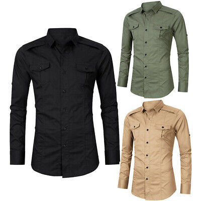d0a7eb507964 Mens Military Shirts Long Sleeve Cargo Slim Fit Army Tactical Combat Work  Shirt