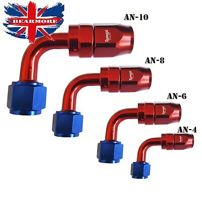 An-4 An-6 An-8 An10 90 Degree Full Flow Swivel Fuel Oil Braided Hose End Fitting