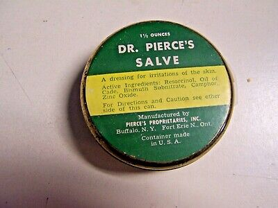 Vintage Medicine Tin Dr Pierce's Salve  Buffalo NY collectible Tin
