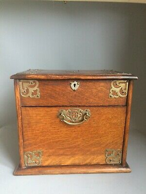 Mechanical desk top stationery box Oak English circa 1900 Writing Letters Key