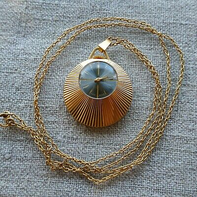 Vintage Russian Slava Gold Plated Pendant Watch with Chain USSR ☭ SERVISED
