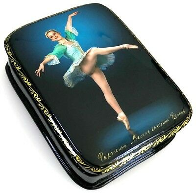 Russische Ballerina - Russische Lackdose Schatulle Russian lacquer box Fedoskino