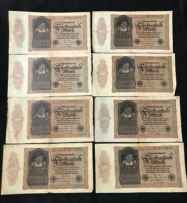 14 pcs Germany 50000 mark 1922 banknotes circulated