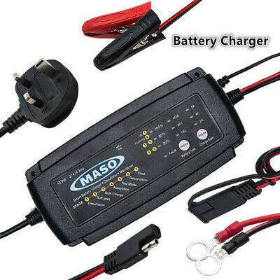 MASO Compact Battery Charger 12 V 2/4/8 A Automobile Motorcycle Marine Boat