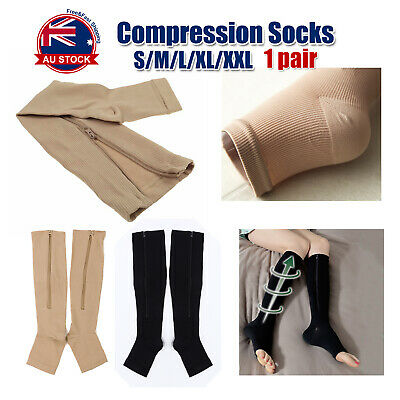 Zip Sox Compression Socks Zipper Leg Support Knee Open Toe Shaper Stockings A