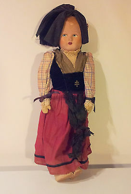 Antique Bisque or Paper Mache Doll with Leather Arms and Legs Cloth Body
