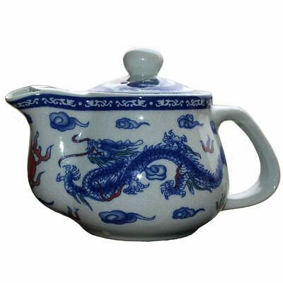 porcelain Teapot 17oz Blue White Dragon peony Stainless Filter Infuser Loose Tea