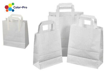 White Kraft Paper SOS Carrier Bags with Flat Handles All Sizes Takeaway Gifts