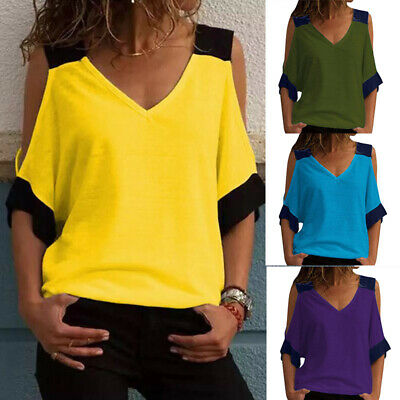 Plus Size Womens Cold Shoulder Top Baggy Tshirt Ladies Summer Blouse Loose Tee