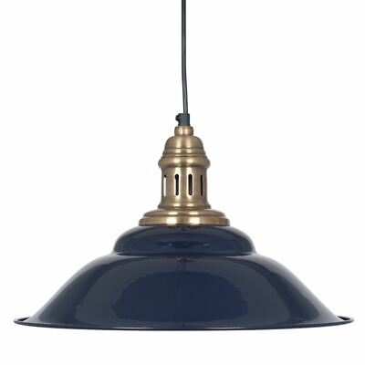 Industrial Style Navy Painted And Antique Brass Metal 1 Light Pendant Fitting