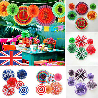 6x Paper Fan Flowers Birthday Party Wedding Tissue Paper Table Room Decoration