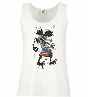 Ladies White Grotesque Mickey Vest Fear Loathing Las Vegas