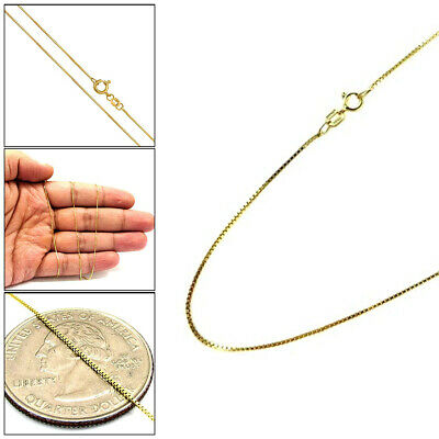 "10K Yellow Gold 1MM Mens Womens Box Chain Necklace 16"" - 24"""