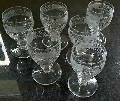 Set of Six Late Georgian 18th Century Antique Engraved Cordial / Dram Glasses