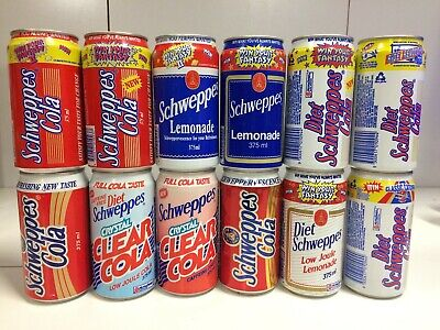 Vintage Schweppes Lot of 12 Competition Advertising Cans 1991/1992