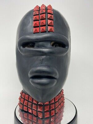 Black Red Latex Rubber Gimp Mask with Sissy Lips Studs Fetish Stag Oral Toy