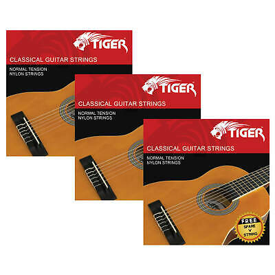 Tiger Pack of 3 Classical Guitar String Sets