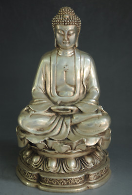 Chinese old copper plating silver hand engraving Buddhism Buddha Statue