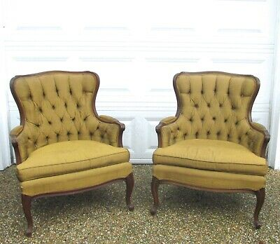 Vtg Antique French Provincial Louis XV Tufted Bergere Carved Club Arm Chairs