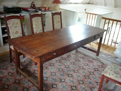 "Long French Apple wood dining table 2; 6"" by 7' 6"" with eight draws,"