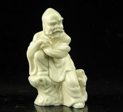 chinese old Dehua white porcelain carved Laughing lion arhat Buddha statue