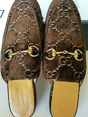 ab893ba61 NEW AUTH GUCCI GG Velvet Princetown Slipper Mules Brown US 11/ G 10 ...