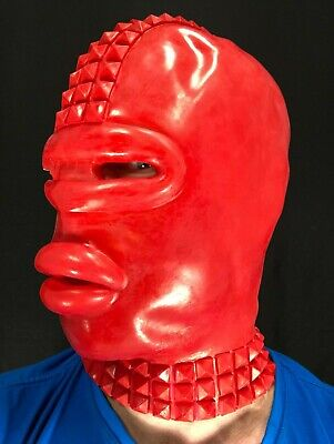 Red Rubber Gimp Latex Mask with Sissy Lips Studs Fetish Stag Oral Toy