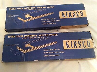 2 Pair Vintage Kirsch Extender Window Curtain Drapes Rods No. 4658 Ivory