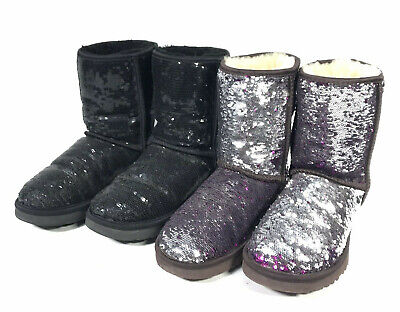 49bf0ead0e9 LOT OF 2 UGG Sequin Boots womens / Girls size 6 Black, Copper Brown ...