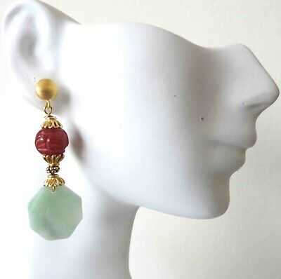 Vintage Chinese Yin/Yang SHOU Carved Jadeite Jade and Carnelian Earrings