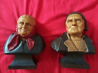 """9"""" fine Antique Black Forest Wood Carving Life Bust Of Man & Women C1900"""