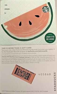 "2019 Starbucks ""Watermelon"" W/Strip Background Die Cut Gift Card Mint No Value"