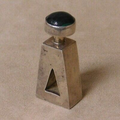 Sterling Silver Perfume Bottle with Stone Lid from Mexico