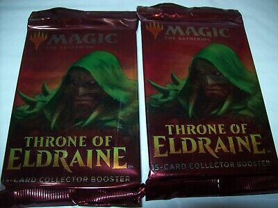 X2 Mtg  Throne Of Eldraine 15 Card Sealed Collector Booster Packs Free Shipping