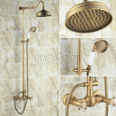 Antique Brass Rain Shower Faucet Set W/ Hand Shower Dual Cross Handles Mixer Tap